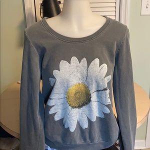 Truly Madly Deeply scoopneck gray daisy Sweatshirt